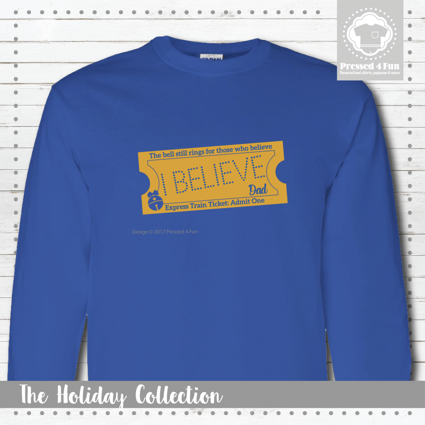 Express Train Ticket Shirts Blue - Long Sleeve Closeup