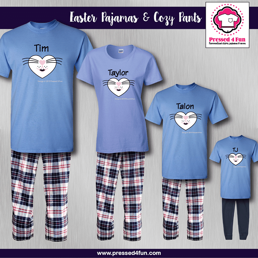 Rabbit Face Pajamas - Short Sleeve Blue