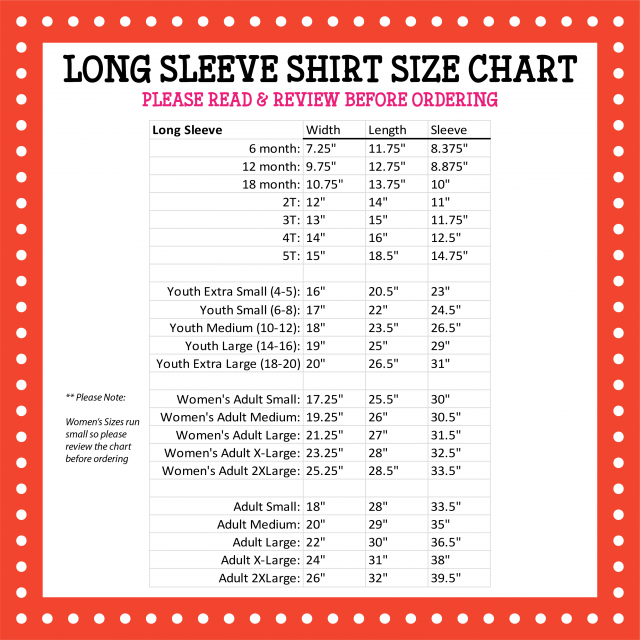 Pressed4Fun Long Sleeve Size Chart