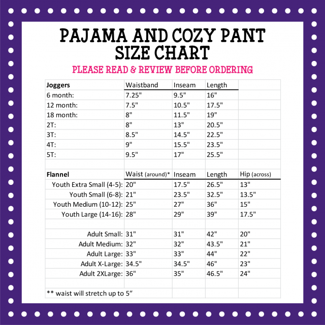 Pressed4Fun Pajama Cozy Pants Size Chart-rev