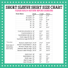 Pressed4Fun Short Sleeve Size Chart
