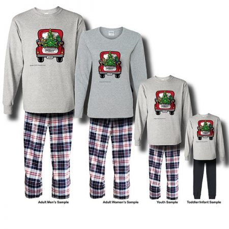 Christmas Truck Pajamas - Long Sleeve White Background