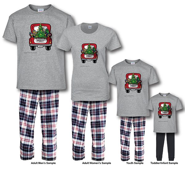 Christmas Truck Pajamas - Short Sleeve White Background