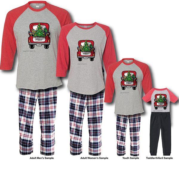Christmas Truck Pajamas - Raglans White Background