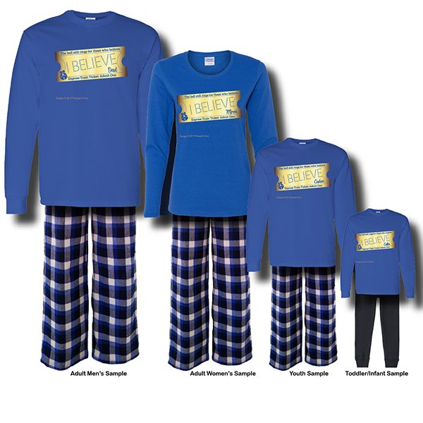 Express Train Ticket Pajamas - Blue Short Sleeve White Background