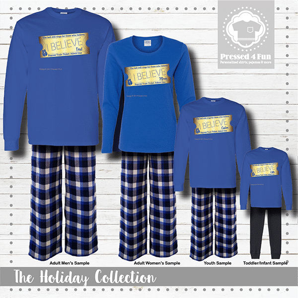 Express Train Ticket Pajamas - Blue Short Sleeve