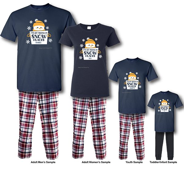 Friends In Snow Places Pajamas - Short Sleeve White Background