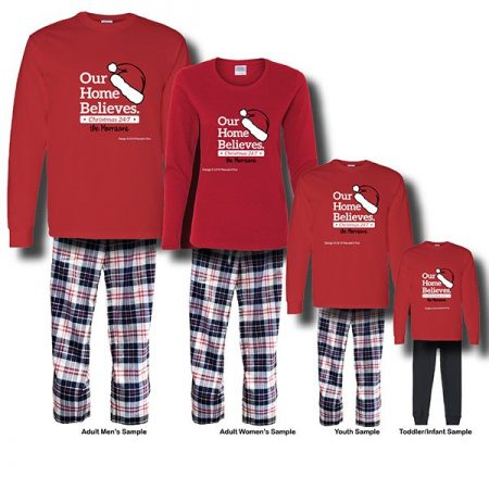 Our Home Believes Pajamas - Long Sleeve White Background