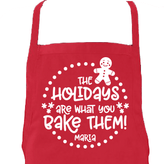 Holidays Are What You Bake of Them Aprons Closeup