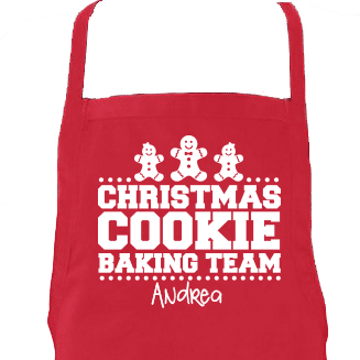 Christmas Cookie Baking Team Apron Closeup