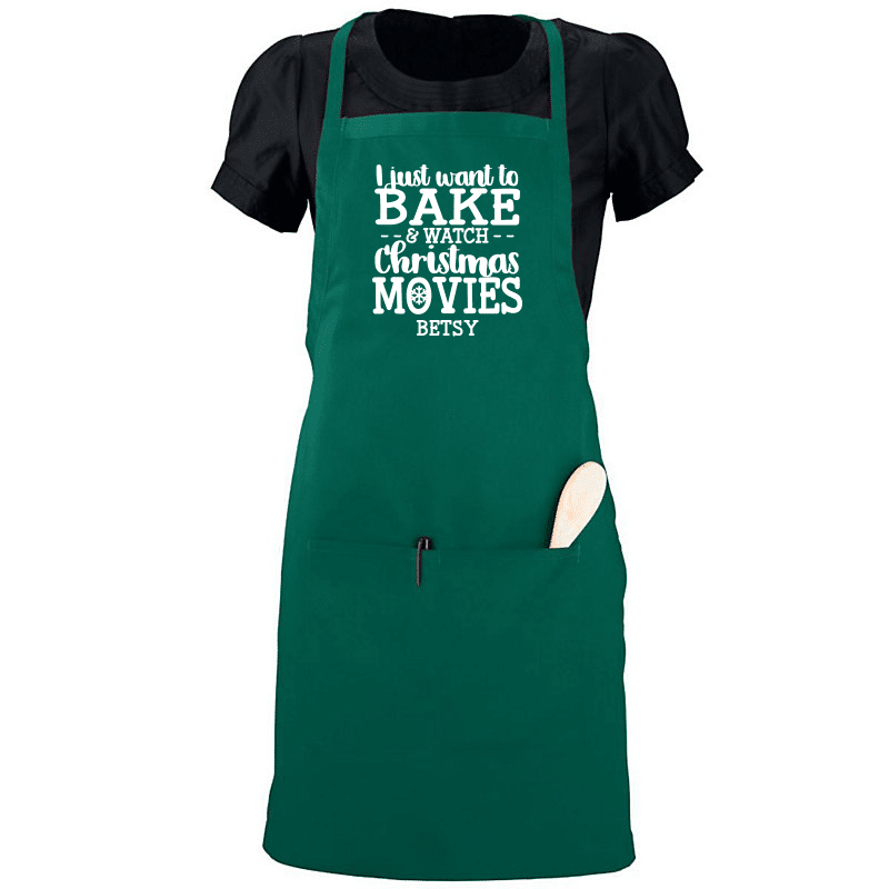 Bake and Watch Christmas Movies Apron Full
