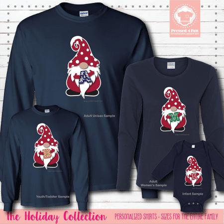 Holiday Gnome Initial Shirts Long Sleeve