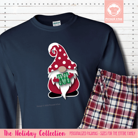 Holiday Gnome Initial Pajamas Long Sleeve Single