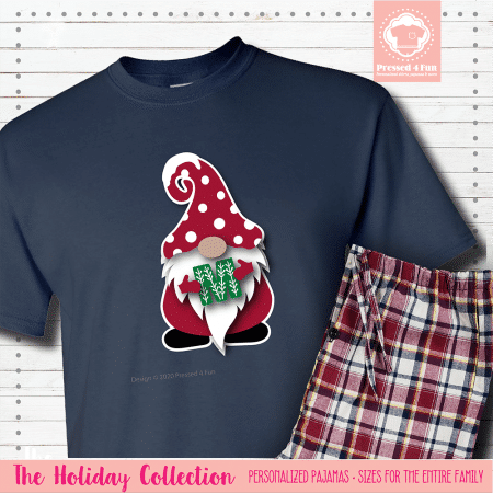 Holiday Gnome Initial Pajamas Short Sleeve Single