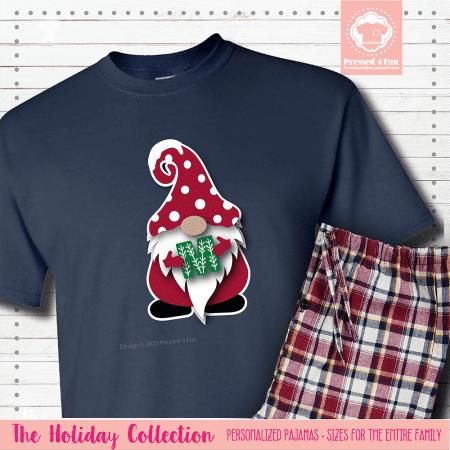 Holiday Gnome Initial Pajamas Short Sleeve Single