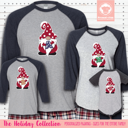 Holiday Gnome Initial Pajamas Raglans