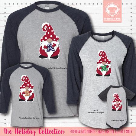 Holiday Gnome Initial Shirts Raglans