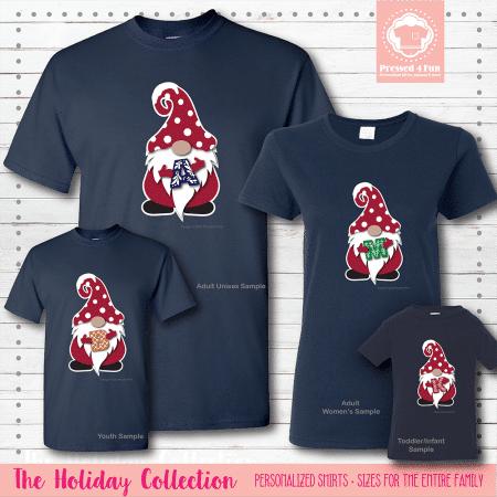 Holiday Gnome Initial Shirts Short Sleeve