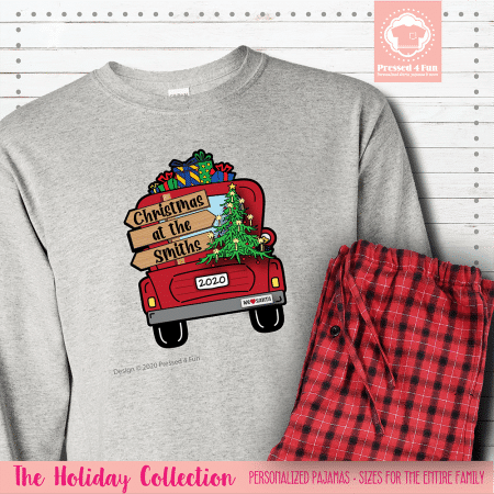 Christmas Truck Pajamas Long Sleeve Single