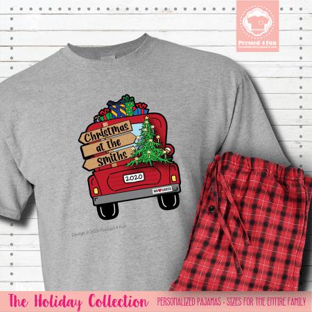 Christmas Truck Pajamas Short Sleeve Single