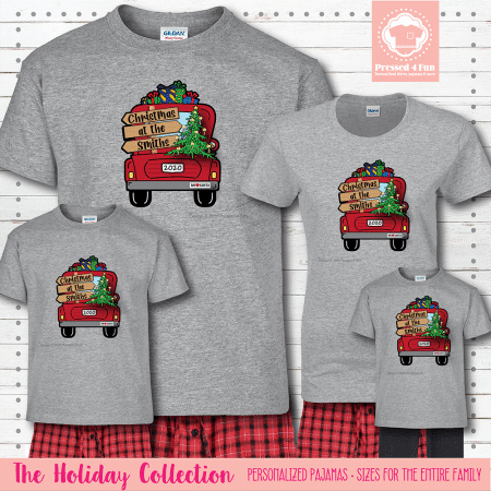 Christmas Truck Pajamas Short Sleeve