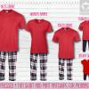 Red Red Blue Short Sleeve Pant Setup