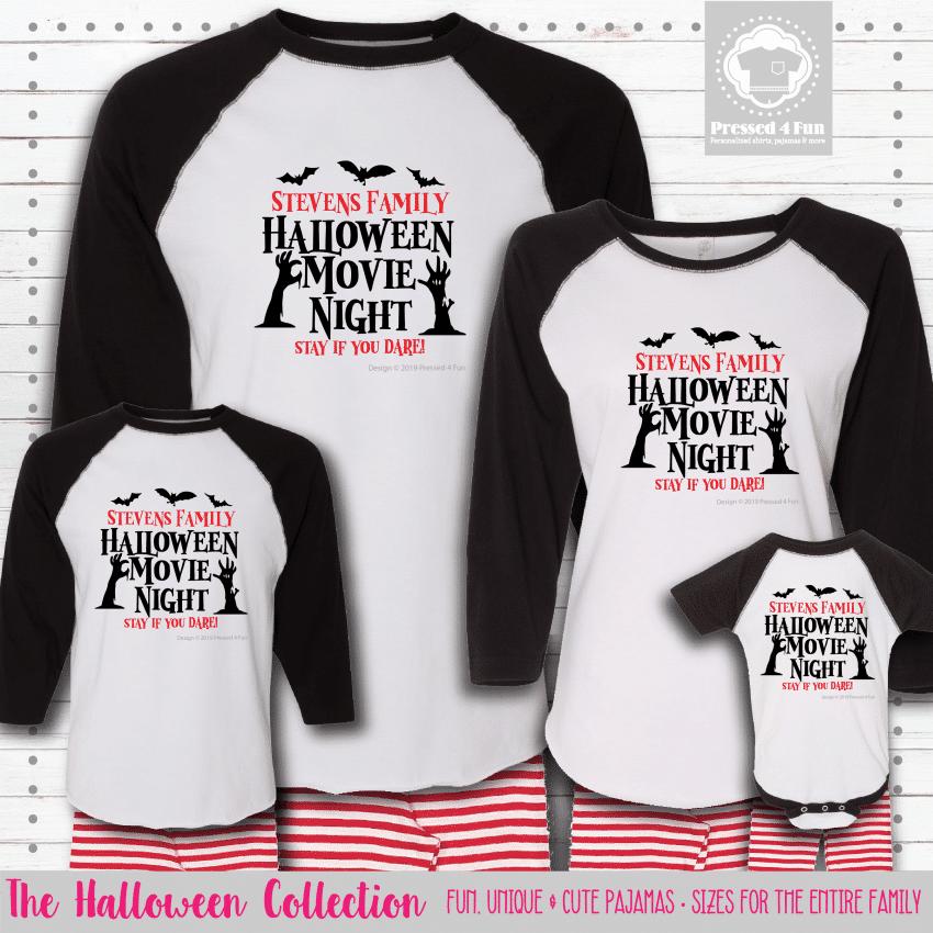 Halloween Movie Night Pajamas - Raglans
