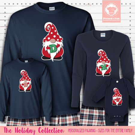 Holiday Gnome Initial Pajamas Long Sleeve Red