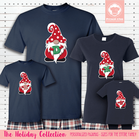 Holiday Gnome Initial Pajamas Short Sleeve Red