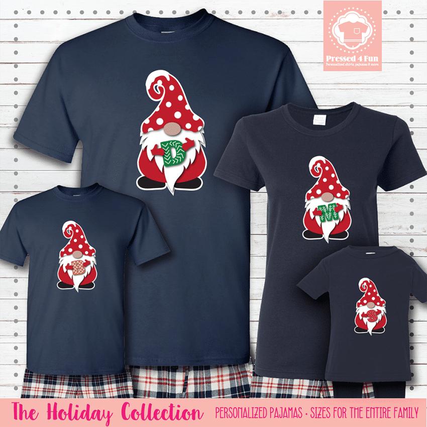 Holiday Gnome Initial Pajamas Short Sleeve Red