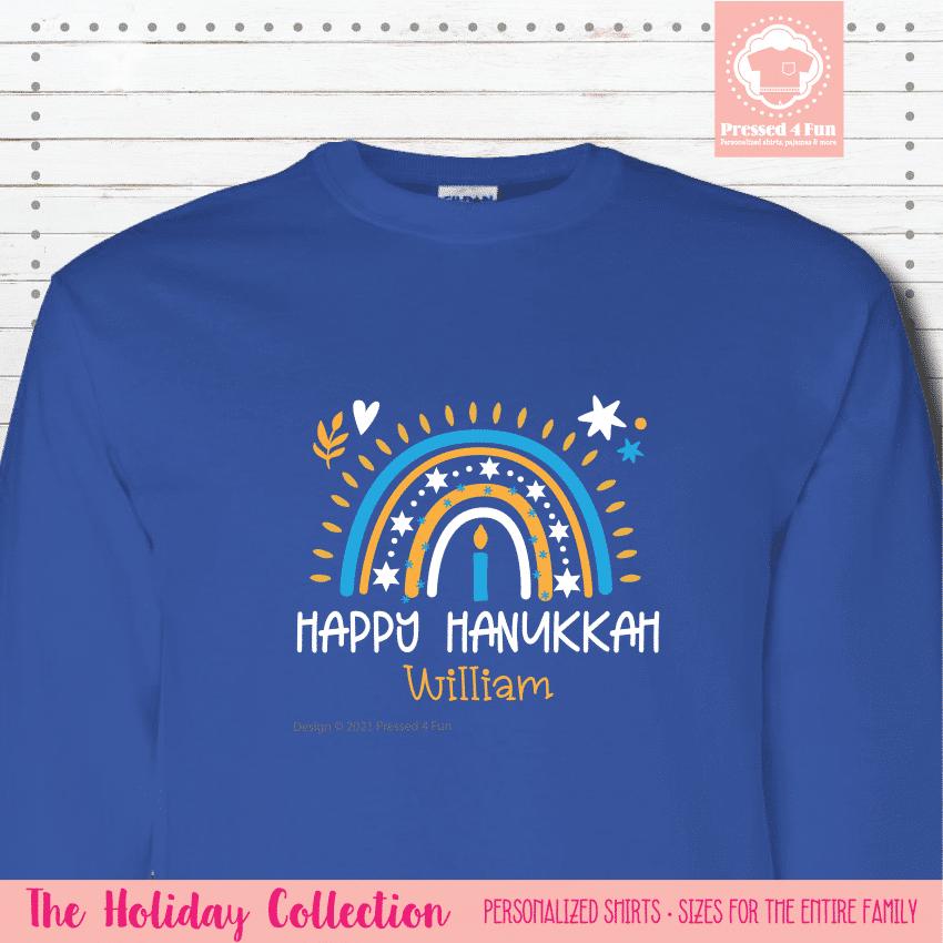 Hanukkah Rainbow Shirts - Long Sleeve Single