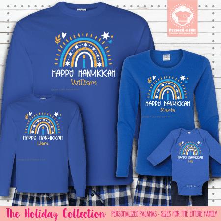 Hanukkah Rainbow Pajamas - Long Sleeve