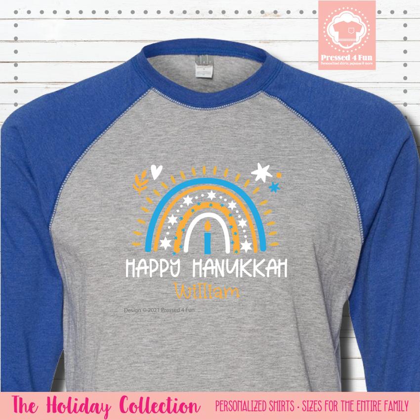 Hanukkah Rainbow Shirts - Raglans Single