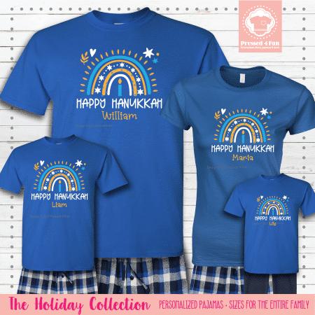 Hanukkah Rainbow Pajamas - Short Sleeve